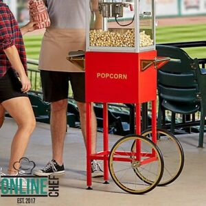 Cart For 4 Oz Popcorn Popper Red Side Shelf Steel Storage Cabinet 16 Rear Wheel