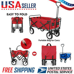 Collapsible Outdoor Utility Folding Wagon Heavy Duty Camp Safe Cart Brake Set Us