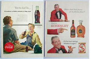 Coca Cola ad 1950's back cover Workers has rubbing AND Schenely