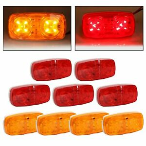 9x Trailer Marker Led Light Double Bullseye 10 Diodes Clearance Light Red Amber