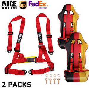2packs 2inch Adjustable 4 Point Sport Seat Belt Safety Harness Strap Usa Stock