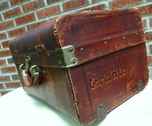 Vintage Trunk Knights Of Templar Masonic Pat April 1877 Sole Leather