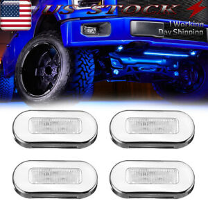 Stainless 4 Pods Blue Led Rock Lights For Jeep Offroad Truck Utv Boat Underbody