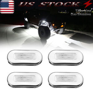 4x White Led Rock Lights Stainless Steel Underbody Light For Jeep Offroad Truck