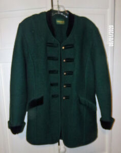 Geiger Collections Made In Austria Wool Jacket Coat Velvet Trim Size 34