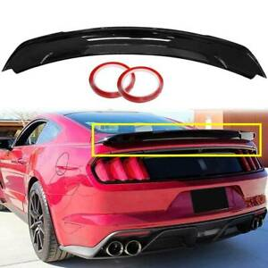 For 2015 2021 Ford Mustang Track Pack Style Glossy Black Rear Trunk Spoiler Wing