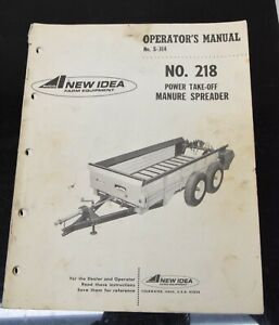 Avco New Idea No 218 Pto power Take off Manure Spreader Owner s Manual S 314