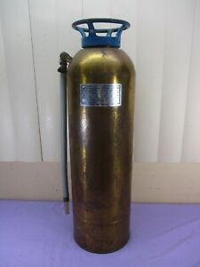 Vintage Stop Fire Brass Fire Extinguisher Huge Eagle On Top Empty Glass Insert