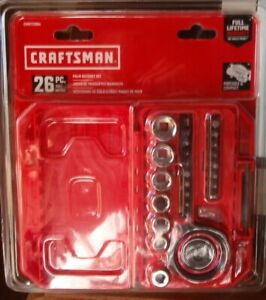 Craftsman 26 Piece Standard Sae Metric Chrome Mechanics Tool Set Palm Ratchet