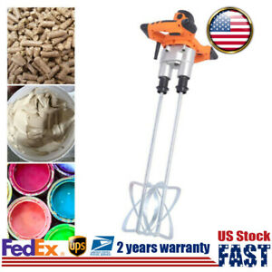 1600w Electric Agitator Handheld Double Mixer For Plaster Paint Cement Mortar Us