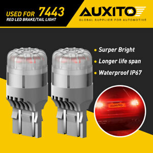 Auxito 7443 7444 Red Led Bulbs Brake Tail Stop Parking Light 7440 T20 Canbus New