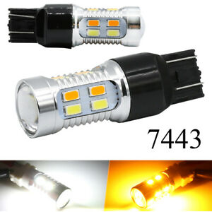 2x 7443 7440 7444 Led Turn Signal Switchback White Amber Drl Parking Light Bulbs