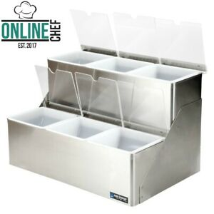 6 Compartment 2 Tier Stainless Steel Condiment Bar Split Notched Lids Countertop