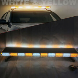 48 Led Amber White Emergency Strobe Flash Light Bar Warning Tow Truck Response