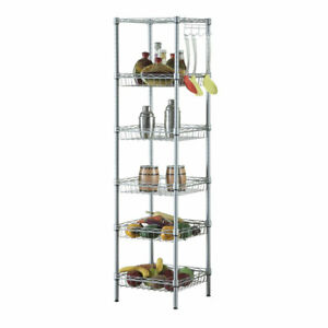 Concise 6 Layers Carbon Steel Pp Storage Rack Silver Gray