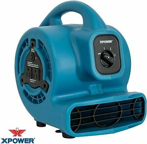 Air Mover Utility Fan Mini Mighty With Built in Power Outlets Blue Ventilador