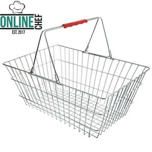 17 3 4 X 2 3 4 X 7 1 2 Chrome Grocery Shopping Basket Red Handle Silver Metal