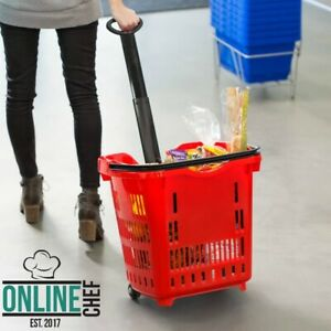21 1 4 X 16 1 2 Red Plastic Grocery Market Shopping Basket With Wheels Storage