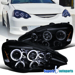 For 2002 2004 Acura Rsx Glossy Black Smoke Dual Halo Projector Headlights