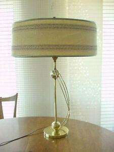 Vintage 1950 S Brass Base Table Lamp Maria Kipp Shade Mid Century Modern