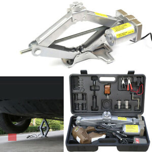 5t Electric Scissor Jack Lift Wrench Automatic Garage Vehicle Tire Repair Tool
