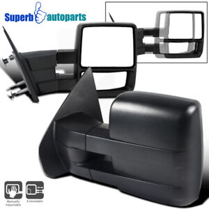 For 2004 2014 Ford F150 Pickup Towing Camper Manual Extend Mirrors Pair
