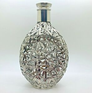 950 Sterling Overlay Glass Decanter With Bamboo And Leaves