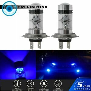 One Pair H7 10000k Deep Blue 100w Led Headlight Bulbs Kit Fog Driving Light