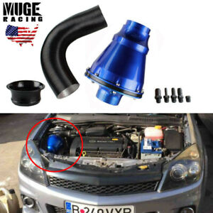 Universal Apollo 70mm Cold Air Intake System Air Filter Kit Blue Auto Car Usa