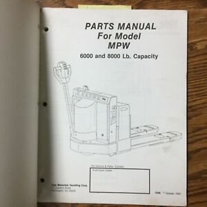 Yale Mpw Service Parts Manual Book Catalog Electric Pallet Walkie Lift Truck
