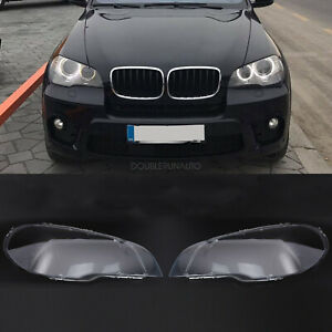 Pair For Bmw X5 E70 Headlight Glass Headlamp Lens Plastic Cover Replacement
