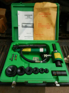 Greenlee 7306 Hydraulic Knockout Punch Set With Case And Die Sets Clean