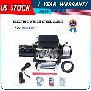 9500lb 4310kg Electric Winch Steel Cable Towing 12v Remote Control Truck Trailer