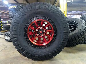 17x9 Fuel D695 Covert Red Wheels 35 Nitto Ridge Tires 6x135 Ford F150 Raptor