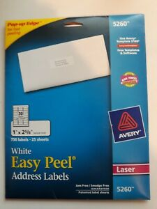Avery 5260 Easy Peel White Address Labels 1 X 2 5 8 750 Labels ave5260