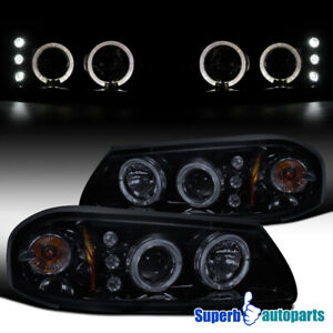 For 2000 2005 Chevy Impala Smoke Led Halo Projector Headlights Glossy Black