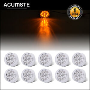 10pcs 2 inch Round Amber Led Side Marker Clearance Lights 9 Diodes Clear Lens