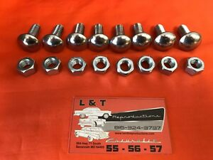 1956 Chevy Belair Stainless Capped Bumper Bolts Sedan Hardtop Wagon Nomad New