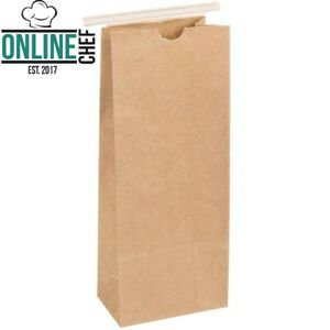 2 Lb Brown Kraft Paper Coffee Food Bag Reclosable Tin Tie Plain Bakeries 50 pack