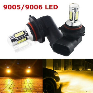2pcs 9005 9006 3000k Golden Yellow High Power Cob Led Fog Lights Driving Bulb