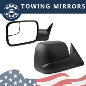 Tow Mirrors Compatible 94 97 Dodge Ram 1500 2500 3500 Flip Up Power Left Right