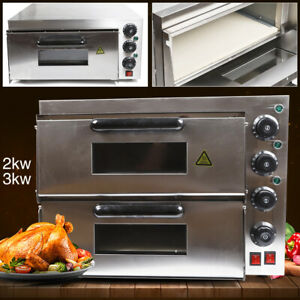 Electric 3000w Commercial Pizza Oven Double Deck Bake Oven Ceramic Stone Toaster