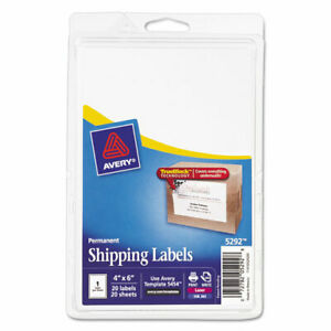 Avery Permanent Shipping Labels 4x6 White Pack Of 20 Labels 5292