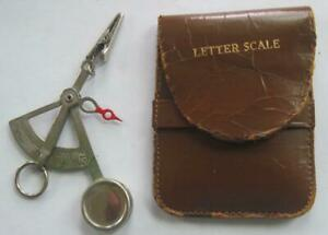 Vintage Hand Held Letter Pocket Postage Scale With Leather Case Made In Germany