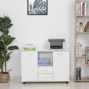 Vinsetto Multifunction Office Filing Cabinet Printer Stand W 2 Drawers White
