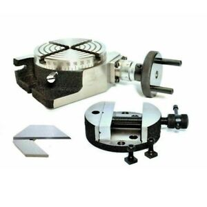 Rotary Table 100 Mm 4 Inch With Round Rotary Vice 100 Mm And Center Square 1 5