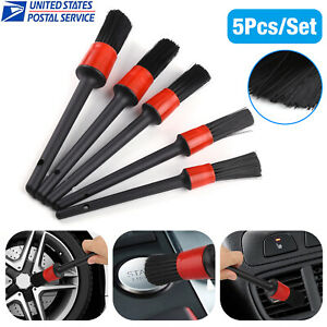 5pc Car Detailing Brush Kit Plastic Vehicle Auto Interior For Wheel Clean Set Us