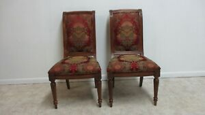 Pair Ethan Allen Townhouse Regency Dining Room Side Chairs A