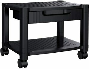 Printer Stand Under Desk With Cable Management Black