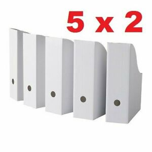 Royal 10 White Magazine File Holders Storage Boxes 12 1 4 h X 10 Pack